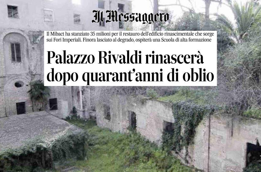 """Gasbarra: """"L'investimento del Mibact su Palazzo Rivaldi è di uno straordinario valore"""""""